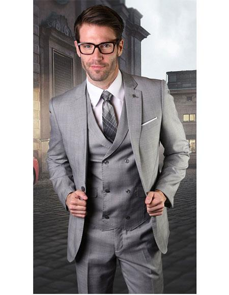 Mens Gray Single Breasted One Button Suit, act now only $189.00