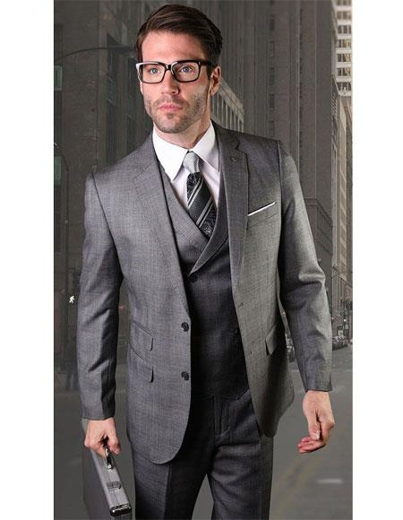 Mens Two Button Charcoal Single Breasted Charcoal Suit, act now only $151.00