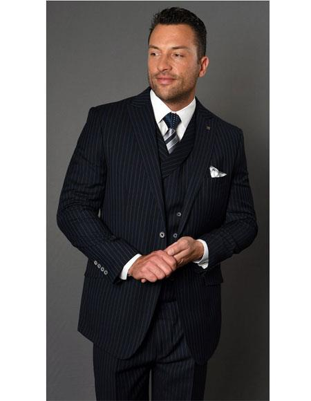 Mens Two Button Single Breasted Striped Pattern Dark Navy Suit, act now only $151.00