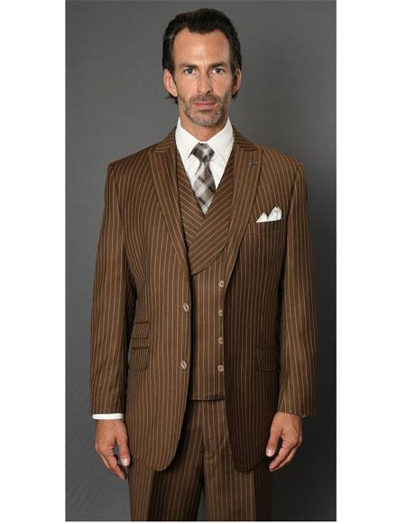 Mens Striped Pattern Bronze ~ Camel  Single Breasted Two Button Suit, act now only $189.00