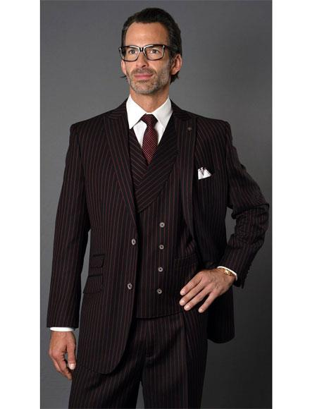 Mens Black ~ Red Single Breasted Two Button Striped Pattern Suit, act now only $189.00