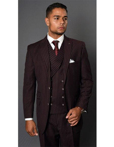 Mens Maroon Single Breasted Striped Pattern Two Button Suit, act now only $189.00