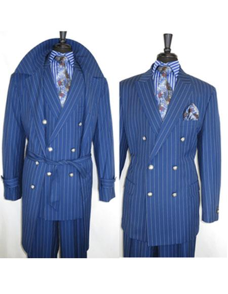 Mens Dress Coat Two Button Double Breasted Peak Lapel Blue Suit, act now only $170.00