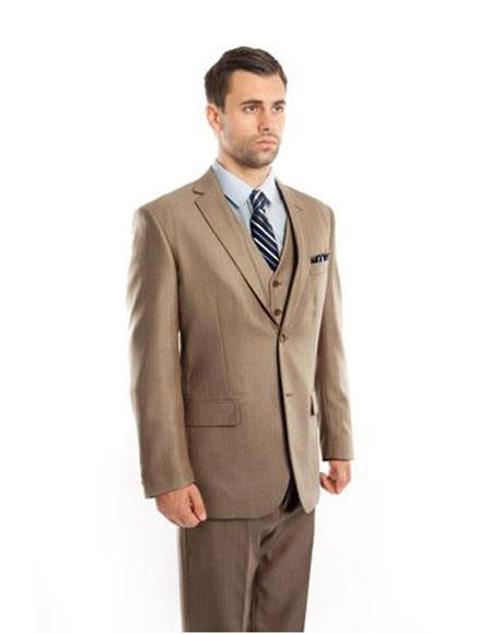 Mens Single Breasted Classic Fit Two Button Tan Suit, act now only $139.00