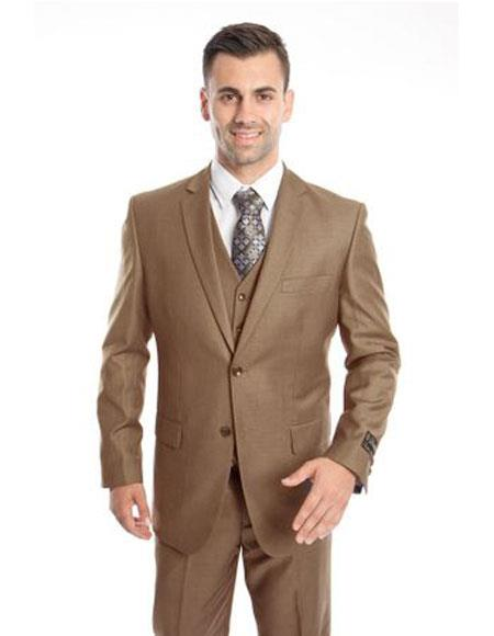 Mens Two Button Regular Fit Dark Taupe Single Breasted Suit, act now only $139.00