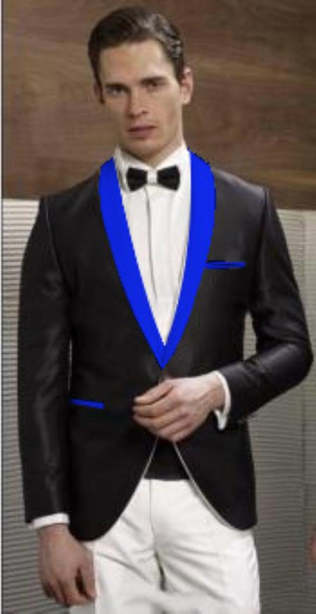Mens Black Suit Single Breasted Blue Shawl Lapel, act now only $199.00