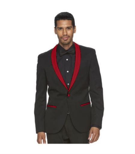 Mens Burgundy Shawl Lapel One Button Black Suit, act now only $160.00