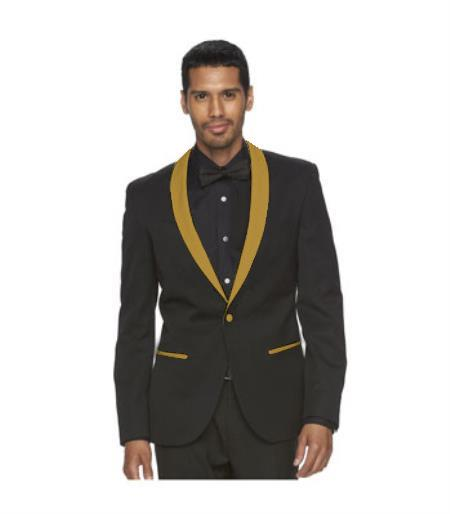 Mens One Button Black Suit Gold Shawl Lapel, act now only $199.00