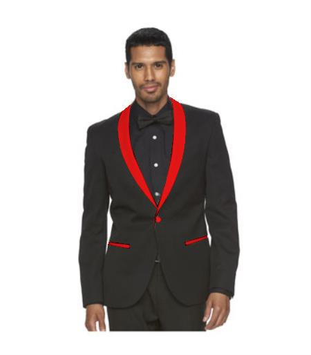 Mens Red Shawl Lapel One Button Black Suit, act now only $139.00