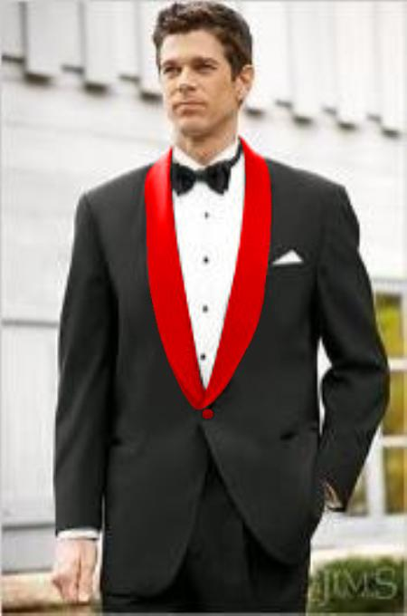 Mens Black Suit Single Breasted Red Shawl Lapel, act now only $139.00