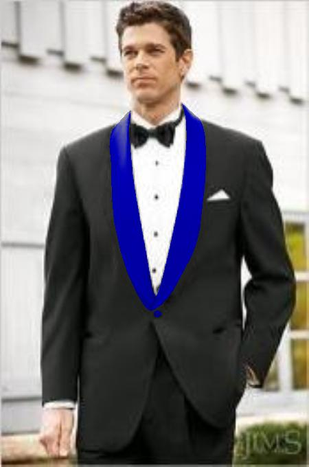 Mens Blue Shawl Lapel Single Breasted Black Suit, act now only $199.00
