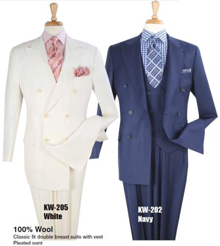 Mens Pure White or Dark Navy Blue 100% Wool Vested 3 Piece Double breasted Suit, act now only $299.00