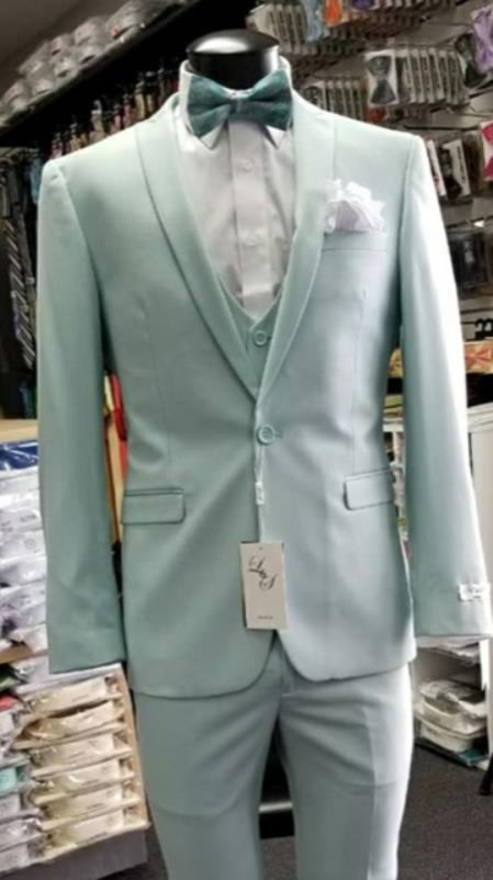 Mens Single Breasted Shawl Lapel Light Blue Suit, act now only $199.00