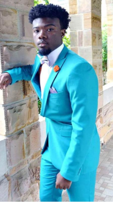 Mens Single Breasted Peak Lapel Blue Suit, act now only $199.00