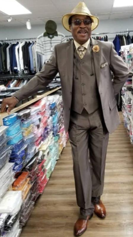 Mens Single Breasted Peak Lapel Brown Suit, act now only $199.00
