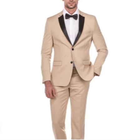 Mens Single Breasted Peak Lapel Tan Suit, act now only $199.00
