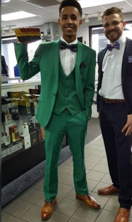 Mens Single Breasted Peak Lapel Green Suit, act now only $199.00