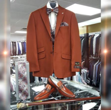 Mens Single Breasted Peak Lapel Dark Brown Suit, act now only $199.00