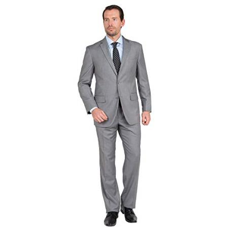 Mens Single Breasted Notch Lapel Two Button Gray Suit, act now only $98.00