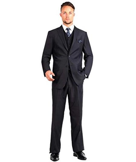 Mens Two Button Black Single Breasted Modern Fit Suit, act now only $104.00