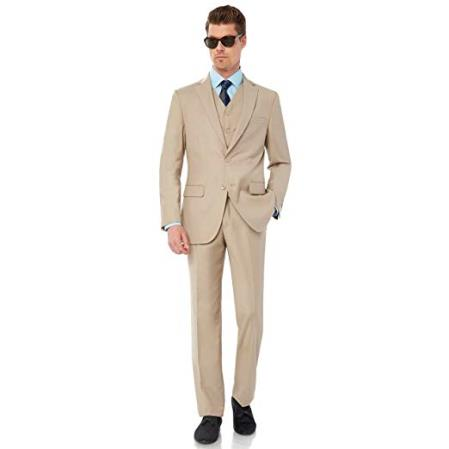 Mens Single Breasted Two Button Modern Fit Tan Suit, act now only $99.00
