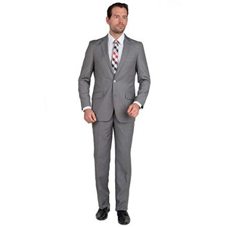 Mens Modern Fit Single Breasted Two Button Gray Suit, act now only $74.00