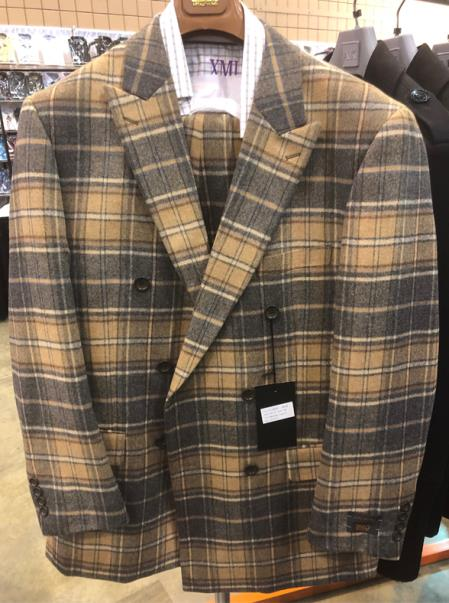Mens Single Breasted Two Button Closure Notch Lapel Plaid Suit, act now only $160.00