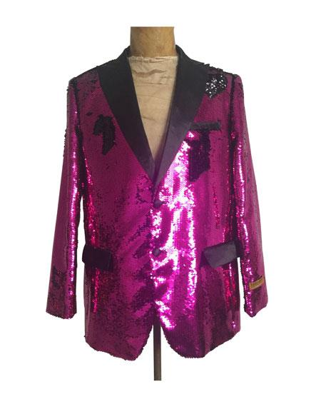 Mens One Button Single Breasted Hot Pink ~ Fuchsia Suit, act now only $165.00