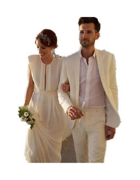 Mens Beach Wedding Attire Suit Menswear Ivory $199, act now only $199.00