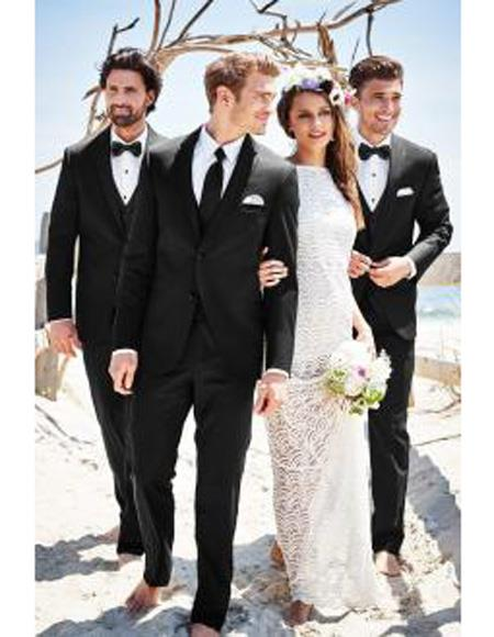 Mens Beach Wedding Attire Suit Menswear Black $199, act now only $199.00