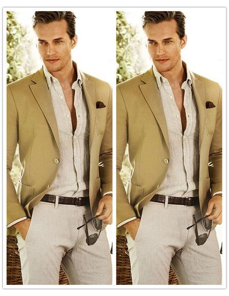 Mens Beach Wedding Attire Suit Menswear Camel $199, act now only $199.00