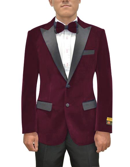 Mens Two Button Peak Lapel Maroon Single Breasted Suit, act now only $199.00