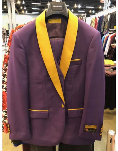 Purple and Gold Tuxedo Vested 3 Piece Suit, act now only $165.00