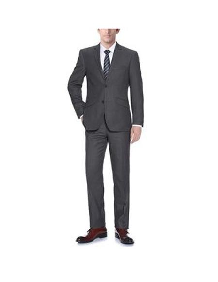 Mens Two Buttons notch lapels Polyester Classic fit 2-Piece Suit In Dark Grey, act now only $102.00
