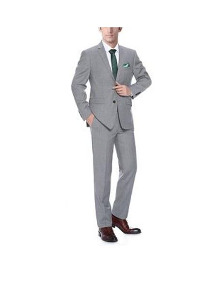 Mens Light Grey Single breasted Classic Fit 2-Piece Wool Suit, act now only $139.00