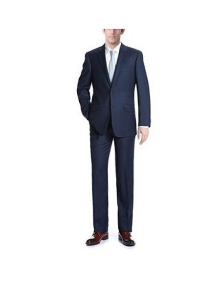 Mens Dark Navy Single breasted Classic Fit 2-Piece Wool Suit, act now only $139.00