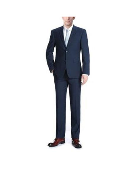 Mens Two Buttons One Chest Pocket Wool Dark Navy Slim Fit Two Piece Suit, act now only $145.00