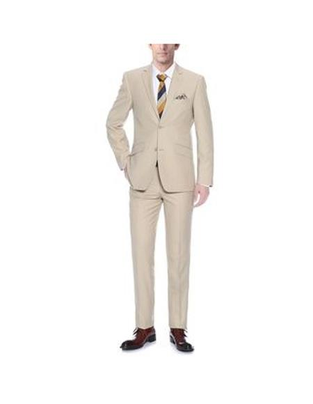 Mens Two Buttons Single breasted Slim Fit Two Piece Polyester Suit In Tan, act now only $108.00