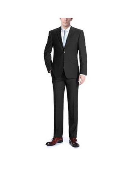 Mens Single breasted Black Notch Lapel Classic Fit 2-piece Wool Suit, act now only $169.00