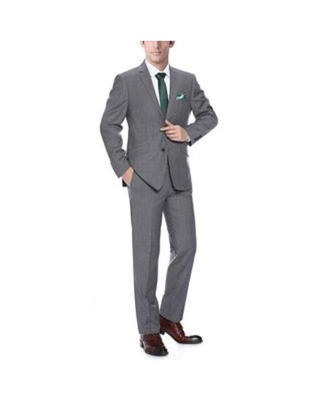 Mens Notch Lapel Dark Grey Single Breasted  Classic Fit wool Suit, act now only $141.00