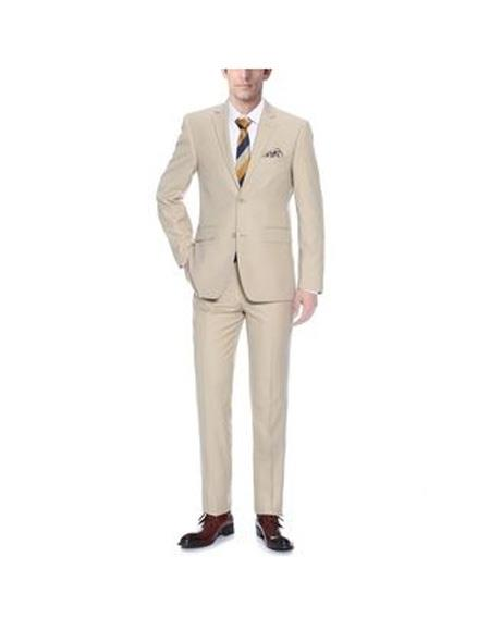 Mens Notch Lapel Single Breasted Tan Classic Fit Two-piece Suit, act now only $107.00