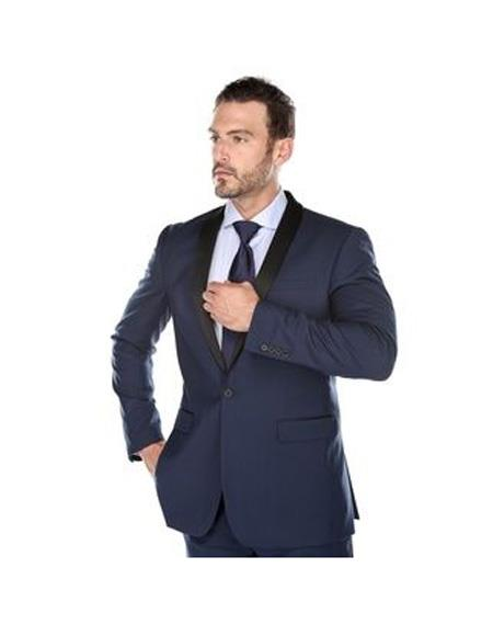 Mens Shawl Lapel Single Breasted Dark Navy Slim Fit Two-piece Suit, act now only $118.00