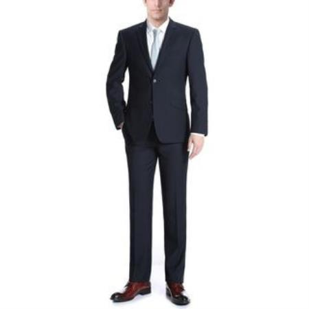 Verno Albani Mens Notch Lapel Two Buttons Dark Navy Slim Fit Two-piece Suit, act now only $112.00