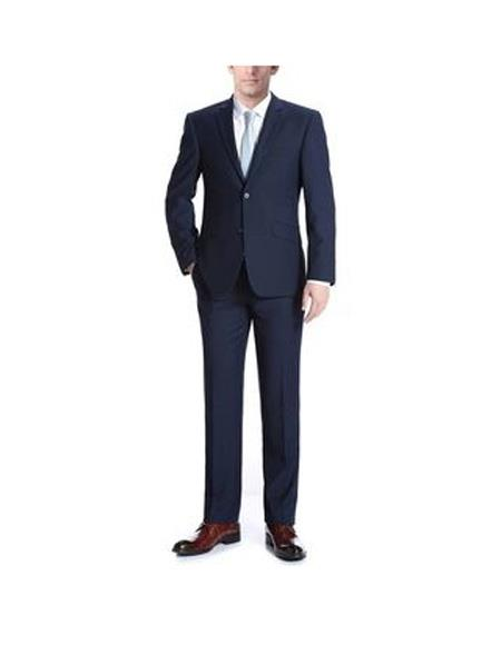 Verno Albani Mens Dark Navy Notch Lapel Classic fit 2-Piece Suit, act now only $119.00