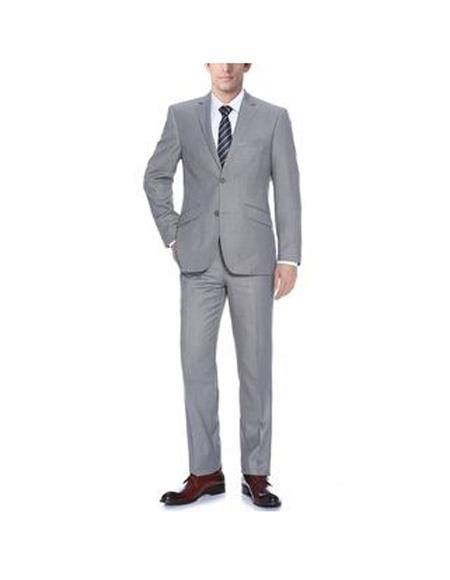 Verno Bellomi Mens Light Grey Notch Lapel Slim Fit 2-Piece Suit, act now only $84.00