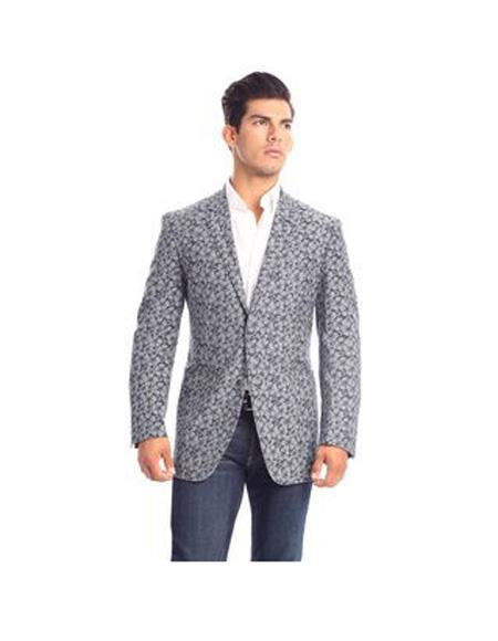 Verno Parisi Men's Notch Lapel Flower Printed Classic fit Suit In White, Blue, act now only $92.00