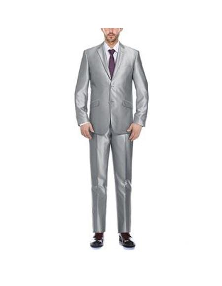 Verno Cavallo Men's Silver Notch Lapel Solid Pattern Slim Fit Polyester Suit, act now only $94.00