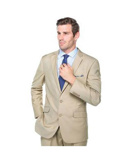 Verno Crespo Men's Single Breasted Solid Pattern Classic Fit Polyester Suit In Beige, act now only $67.00