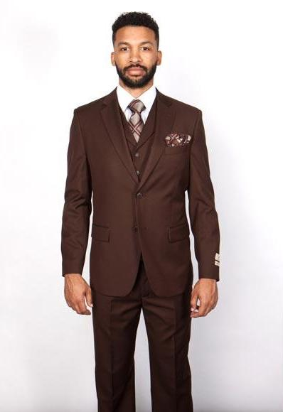 Men's 5 Button 100% Wool Brown Single Breasted Notch Lapel Vested Suit, act now only $199.00