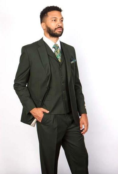 Men's 5 Button Notch Lapel 100% Wool Green Single Breasted Lapel Vested Suit, act now only $199.00